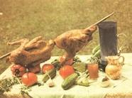 Цыплята фаршированные, жаренные на вертеле по-абхазски