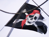 The Georgian border guards flying the jolly Roger